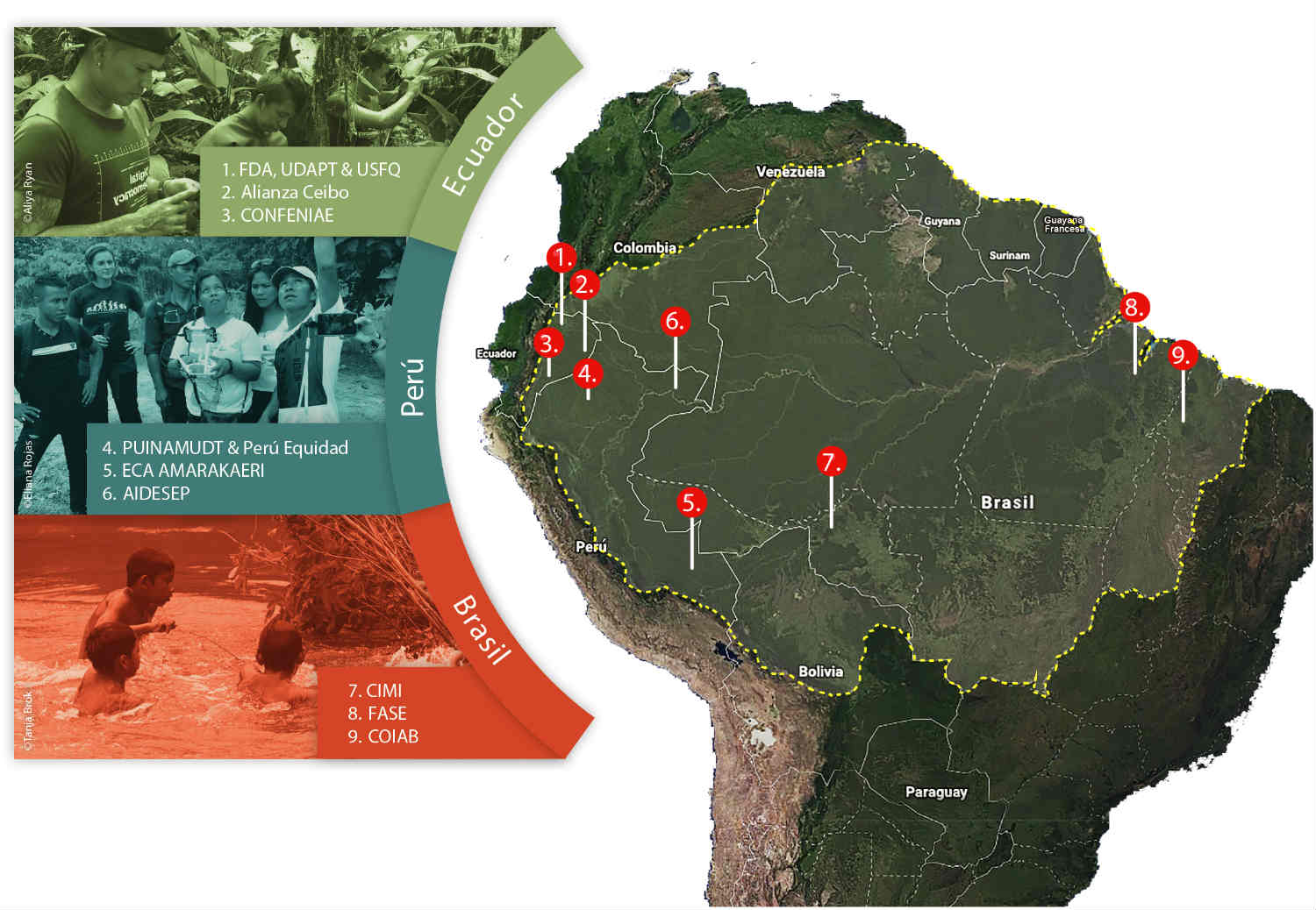 Map showing where we support indigenous communities in the fight to protect the Amazon.