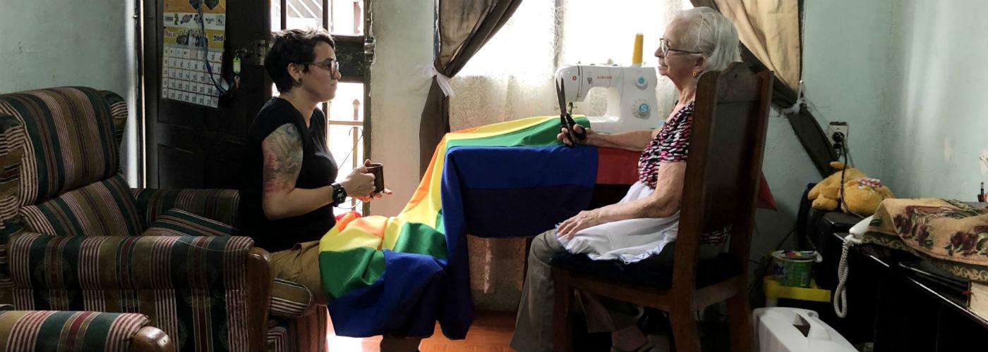 sewing LGBTI flag
