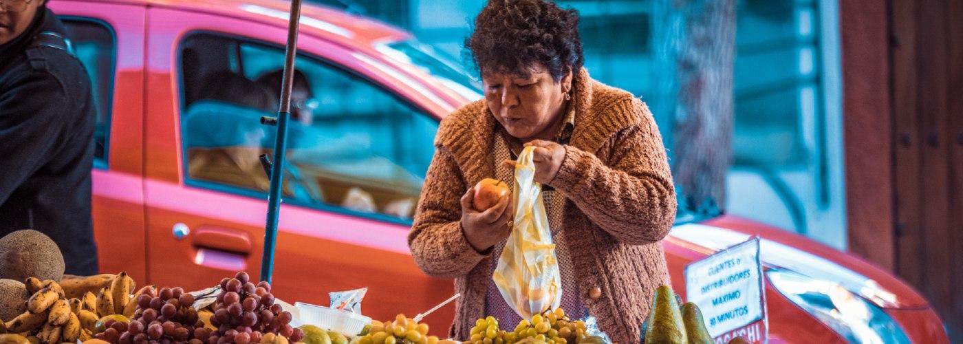 Informal food market in Bolivia