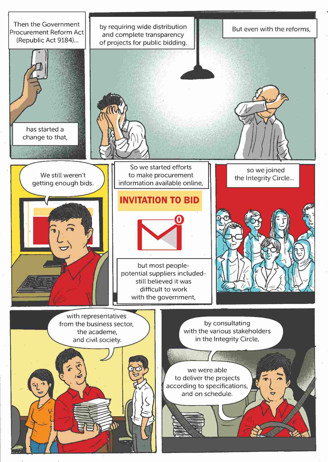 Comic strip about open contracting in the Philippines 4