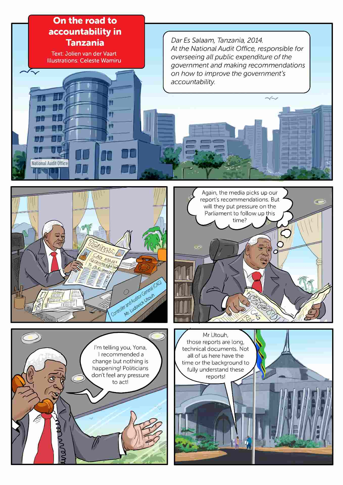 Comic strip about accountability in Tanzania slide 1