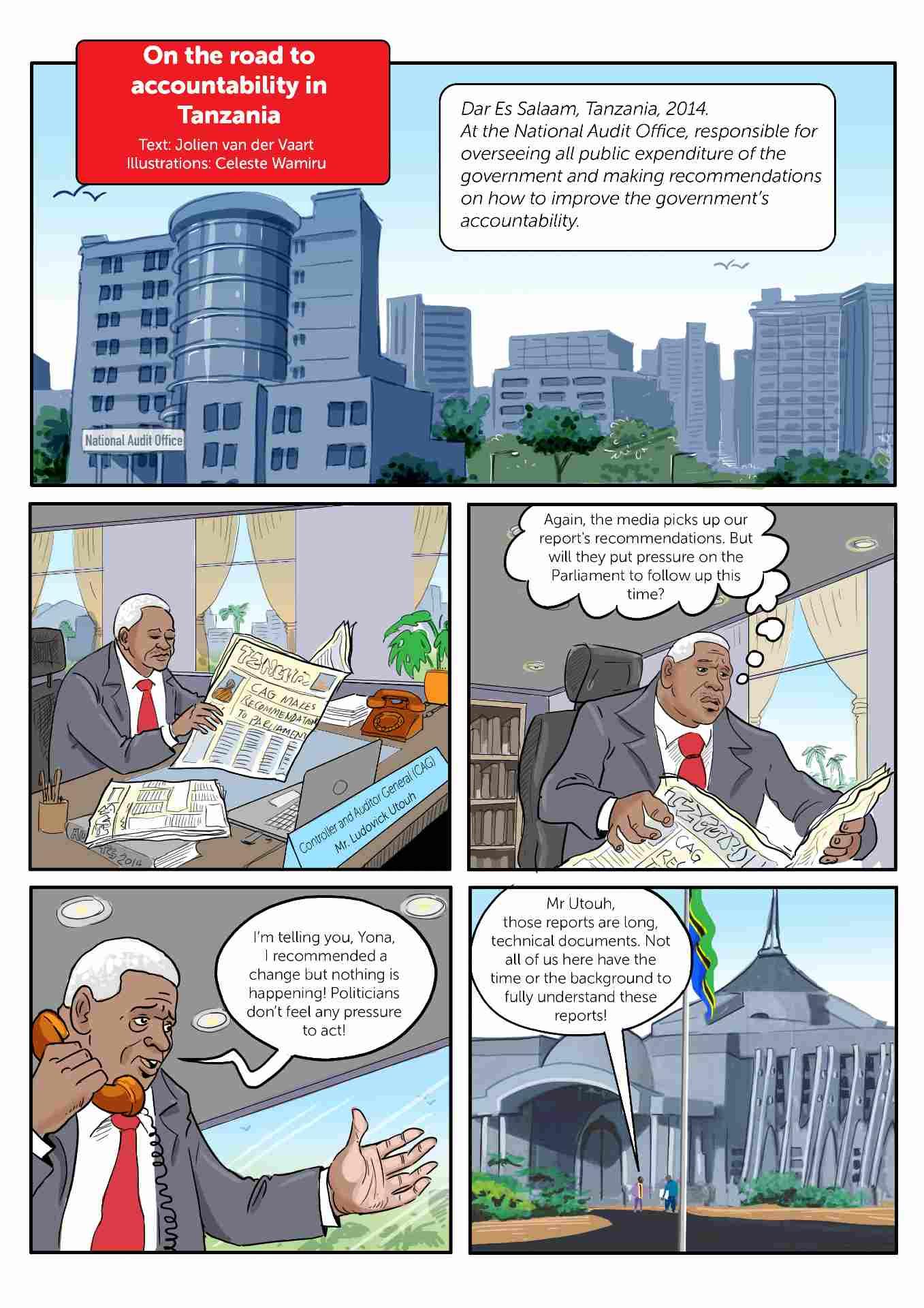 Comic strip about accountability in Tanzania slide 1