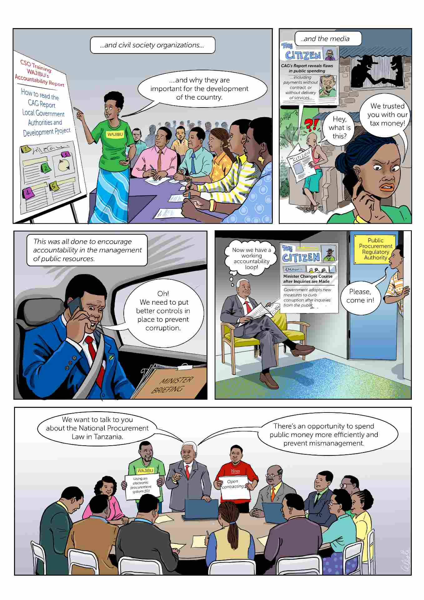 Comic strip about accountability in Tanzania slide 3