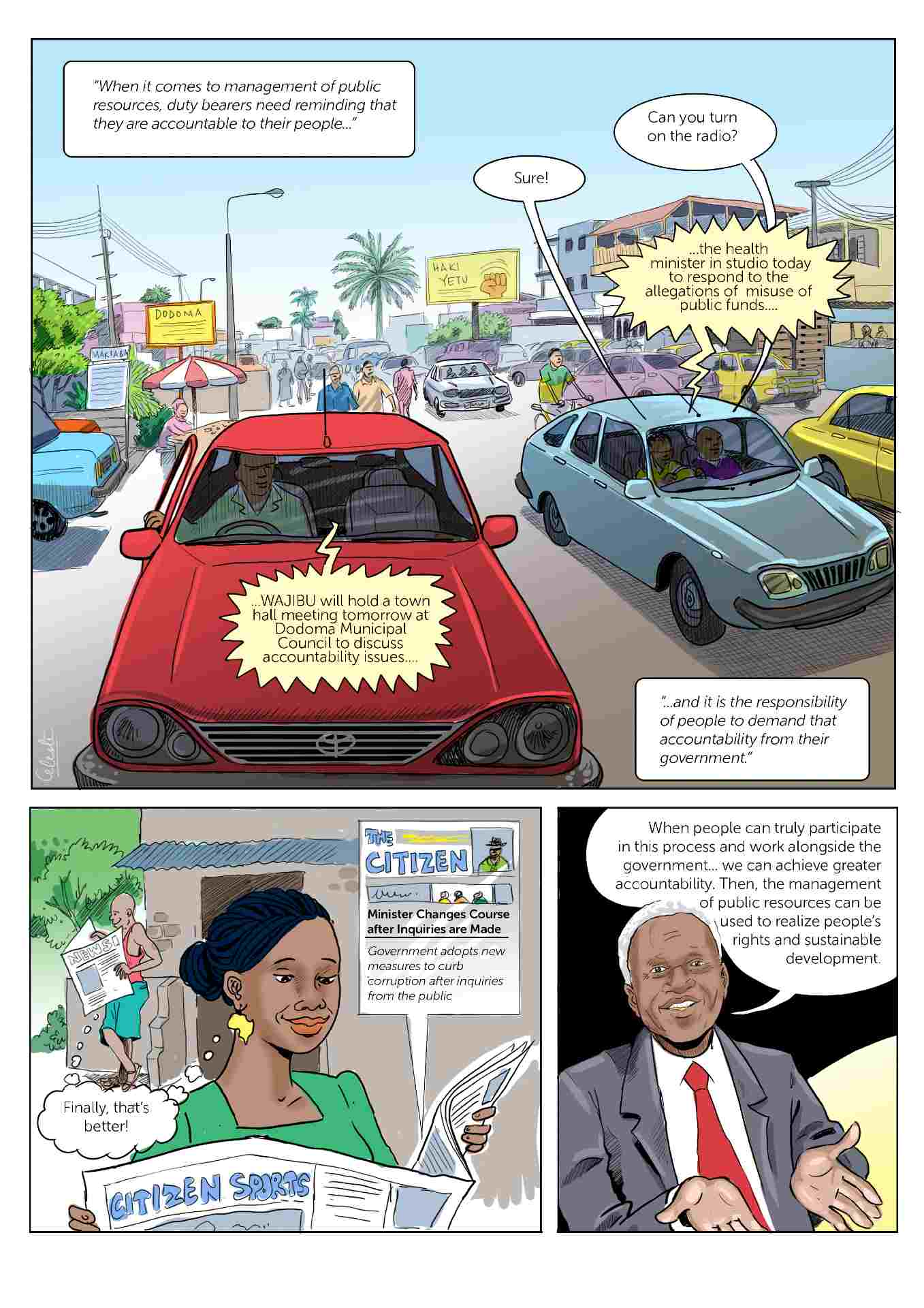 Comic strip about accountability in Tanzania slide 4