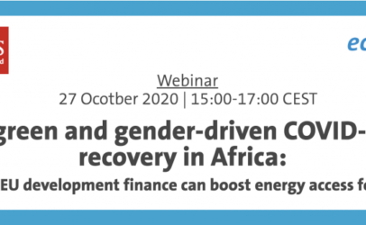 A green and gender-driven COVID-19 recovery in Africa: How EU development finance can boost energy access for all