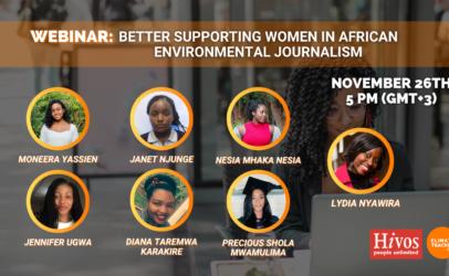 Webinar: Better supporting women in African environmental journalism