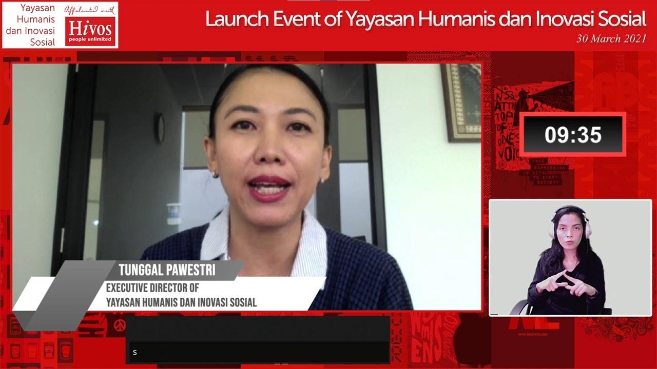 Tunggal Pawestri speaking at launch Yayasan