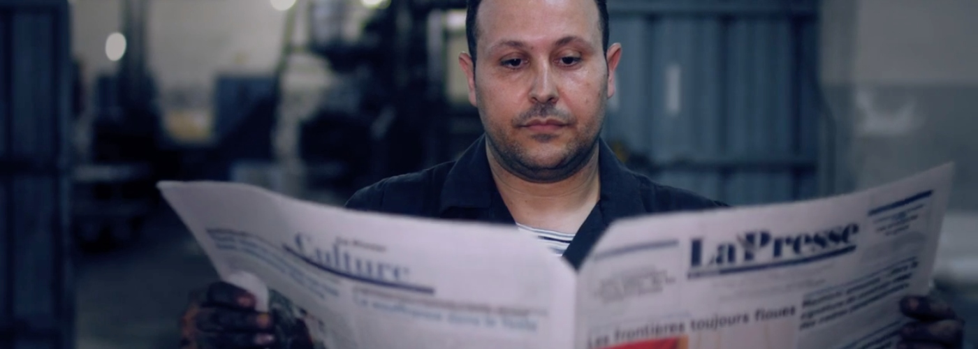 Still taken from video about free press in Tunisia